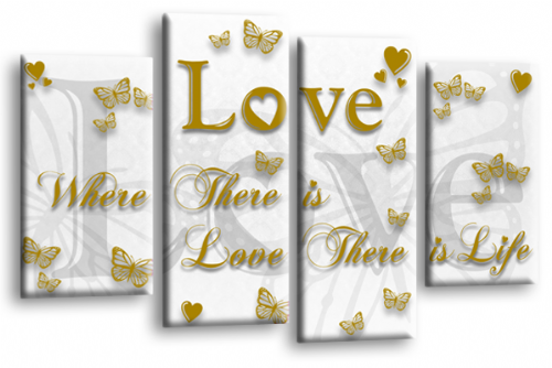 Love Quote Wall Art Print White Gold Family Picture